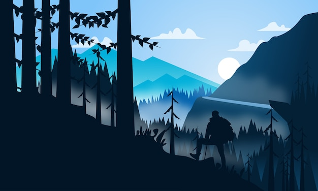 Illustration vectorielle: paysage de fond plat de randonnée en montagne