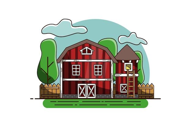 Illustration vectorielle de paysage grange vue de face