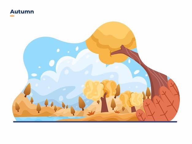 Illustration vectorielle de paysage en plein air de saison d'automne avec de beaux paysages