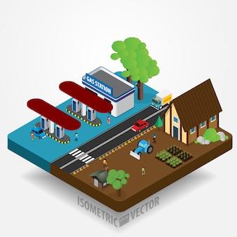 Illustration vectorielle de paysage urbain isométrique