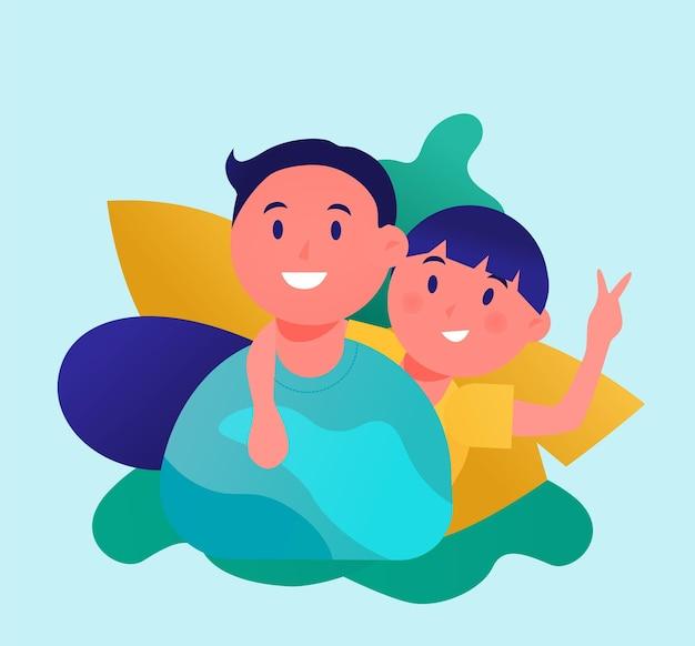 Illustration vectorielle d'un père avec son fils dans une carte de voeux de bonne fête des pères de style plat
