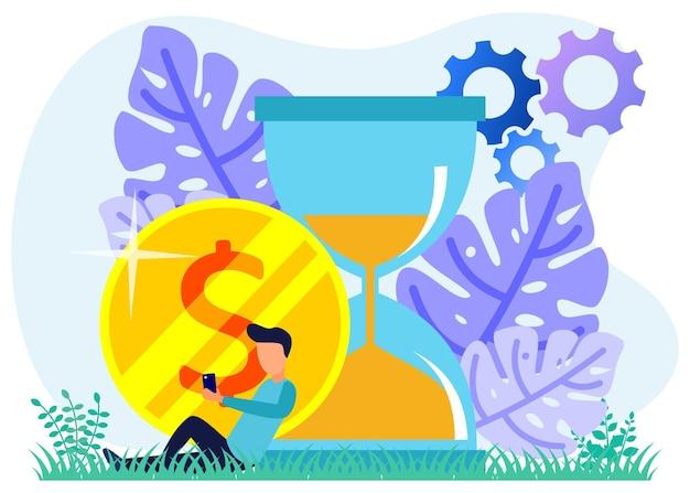 Illustration vectorielle personnage de dessin animé graphique du temps est de l'argent