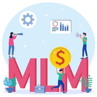 Illustration vectorielle personnage de dessin animé graphique de mlm