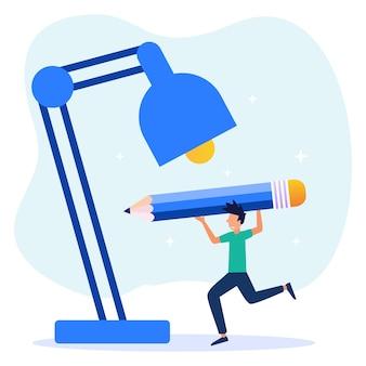Illustration vectorielle personnage de dessin animé d'inventions et d'idées créatives