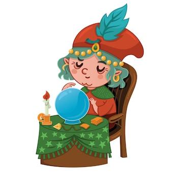Illustration vectorielle de personnage de diseur de bonne aventure de dessin animé