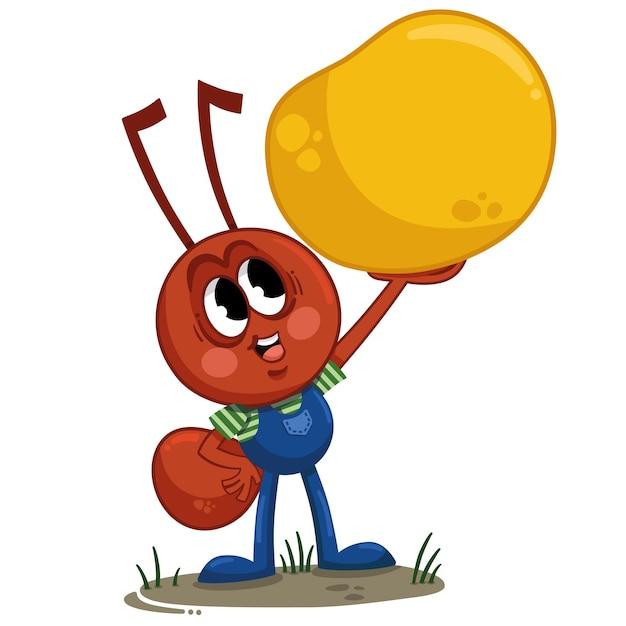Illustration vectorielle de personnage de fourmi de dessin animé