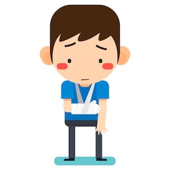 Illustration vectorielle, personnage de l'homme patient minuscule dessin animé mignon cassé le bras droit en bandage de gypse ou bras plâtré