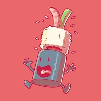 Illustration vectorielle de personnage de rouleau de sushi effrayé concept de design d'horreur alimentaire drôle