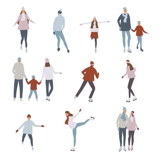 Illustration vectorielle de personnes patinage sur glace