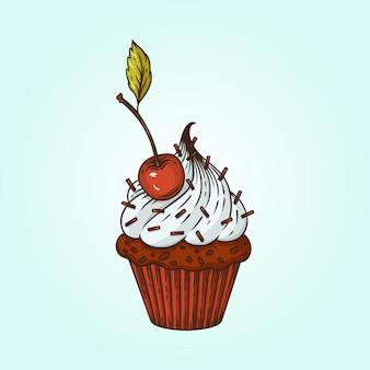 Illustration vectorielle d'un petit gâteau à la cerise