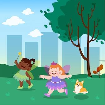 Illustration vectorielle de petite fée princesse