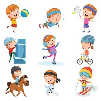 Illustration vectorielle de petite fille faisant du sport