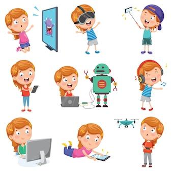 Illustration vectorielle de petite fille jouant avec des appareils