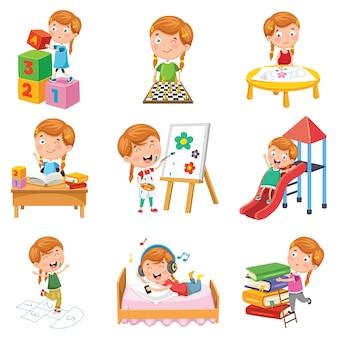 Illustration vectorielle de petite fille jouant