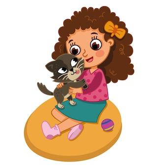 Illustration vectorielle de petite fille serrant son chat