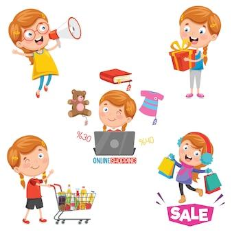 Illustration vectorielle de la petite fille shopping