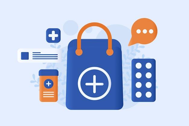 Illustration vectorielle de pharmacie en ligne