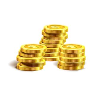 Illustration vectorielle de pièces d'or. isolé sur blanc.