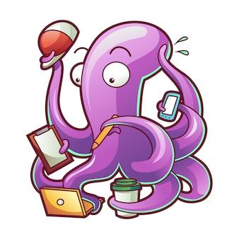 Illustration vectorielle d'une pieuvre occupée heureuse