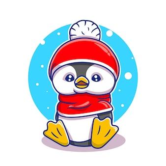 Illustration vectorielle de pingouin mignon dessin animé