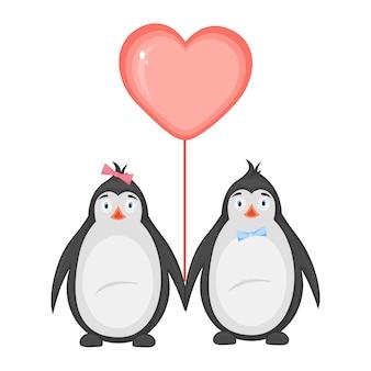 Illustration vectorielle avec des pingouins le jour de la saint-valentin.