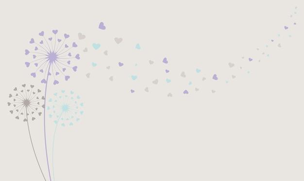 Illustration vectorielle de pissenlit et graines élément de décoration isolé de vecteur
