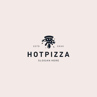 Illustration vectorielle de pizza chaude logo