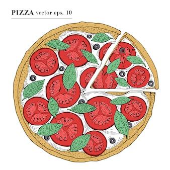Illustration vectorielle de pizza italienne margarita dessinés à la main. peut être utilisé pour une pizzeria, un café, une boutique, un restaurant.