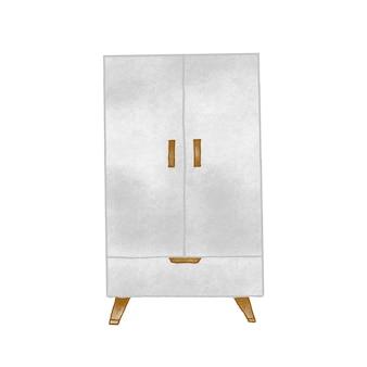 Illustration vectorielle de placard vintage dessinés à la main. ameublement de cuisine, article d'intérieur de maison. casier en bois, dessin rétro ambré. meuble, armoire de cuisine isolé sur fond blanc.