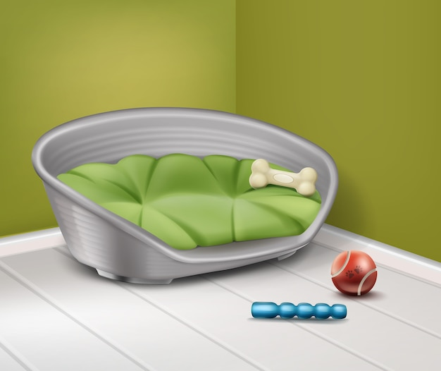 Illustration vectorielle de place pour chien avec différents jouets à la maison isolé sur fond