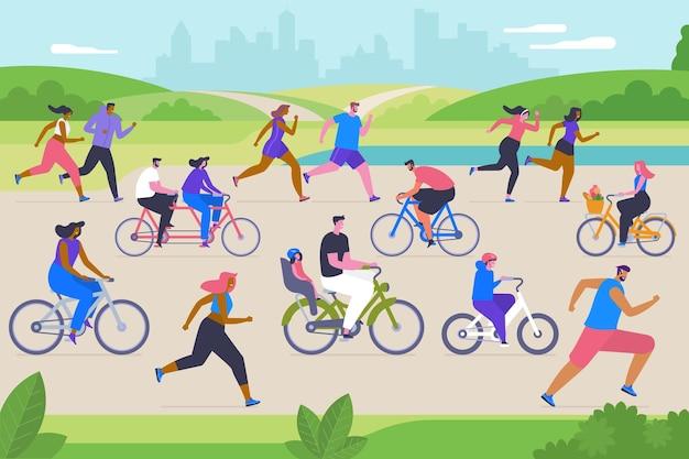 Illustration vectorielle plane d'activités sportives en plein air. personnages de dessins animés de jeunes hommes, femmes et enfants. entraînement à l'air frais, exercice, loisirs actifs. gens heureux faisant du vélo et du jogging dans le parc de la ville