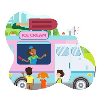 Illustration vectorielle plane alimentaire entreprise de camionnage