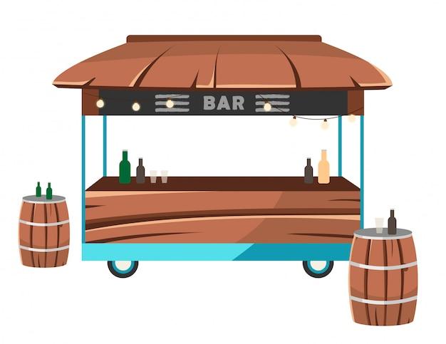 Illustration vectorielle plane bar food truck.
