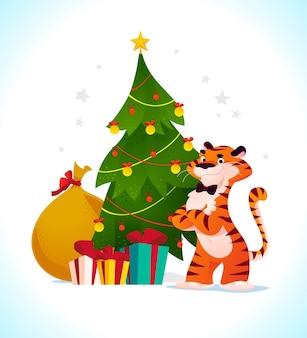 Illustration vectorielle plane cartoon du nouvel an et joyeux noël mascotte tigre drôle de personnage au sapin de noël décoré et présente isolé. pour les bannières, le web, les emballages, les publicités, les cartes, etc.