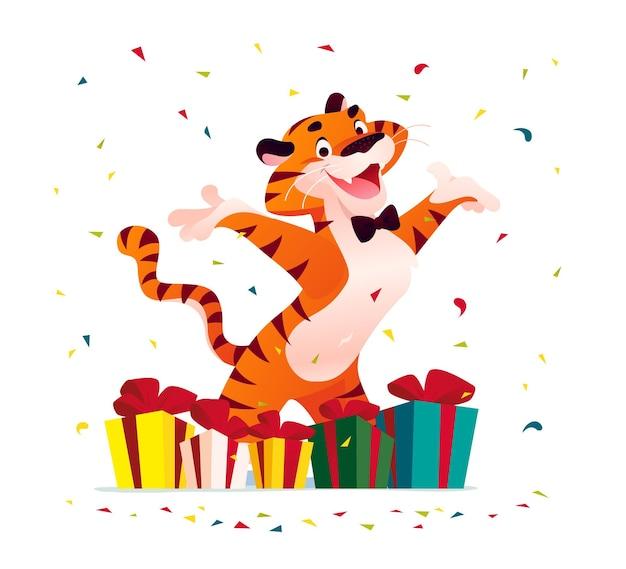 Illustration vectorielle plane cartoon du nouvel an et joyeux noël mascotte tigre drôle de personnage avec des coffrets cadeaux isolés. pour les bannières, le web, les emballages, les publicités, les cartes, etc.