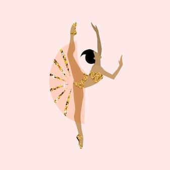Illustration vectorielle plane de danseuse de ballet jeune ballerine