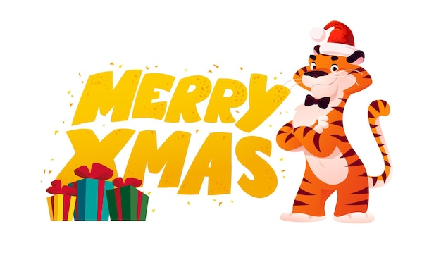Illustration vectorielle plane de dessin animé de félicitations de texte joyeux noël, personnage drôle de tigre mascotte en bonnet de noel et coffrets cadeaux isolés. pour les bannières, le web, les emballages, les publicités, les cartes, etc.