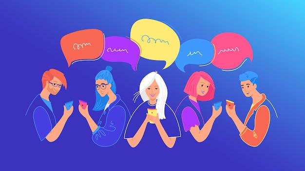 Illustration vectorielle plane du concept de chat et de communication sur les médias sociaux. adolescents et filles utilisant un smartphone mobile pour discuter, envoyer des sms, faire des commentaires sur les réseaux sociaux. les jeunes avec des bulles