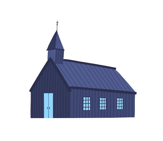 Illustration vectorielle plane de l'église islandaise. ancienne chapelle, cathédrale en planches de bois. extérieur de bâtiment religieux simple. élément de conception de couleur de sanctuaire antique. kirk antique isolé sur fond blanc.