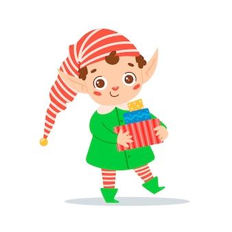 Illustration vectorielle plane d'un elfe de noël dessin animé mignon garçon elfe assistant du père noël