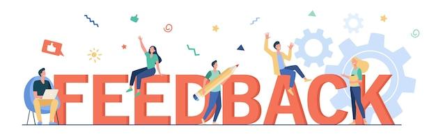 Illustration vectorielle plane de gestion des commentaires des clients. dessin animé de minuscules gens heureux votant et donnant un avis au service de l'entreprise. crm, conseils et concept d'évaluation