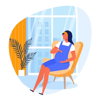 Illustration vectorielle plane jeune femme enceinte