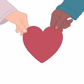 Illustration vectorielle plane de la main du couple tenant un coeur rouge sur fond blanc