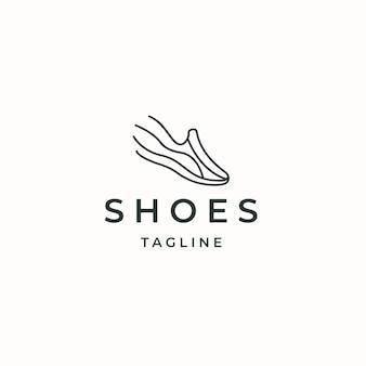 Illustration vectorielle plane de modèle de conception d'icône de logo de chaussures