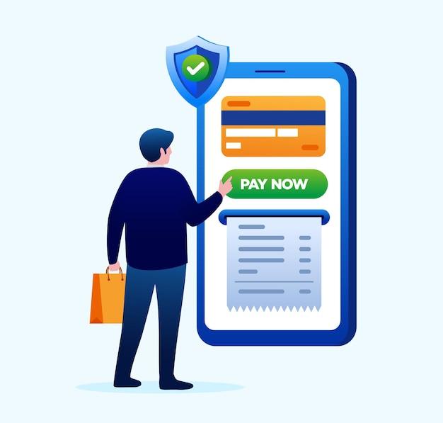 Illustration vectorielle plane de paiement par carte de crédit pour la bannière