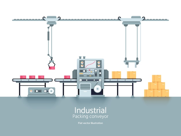 Illustration vectorielle plane de production industrielle usine convoyeur