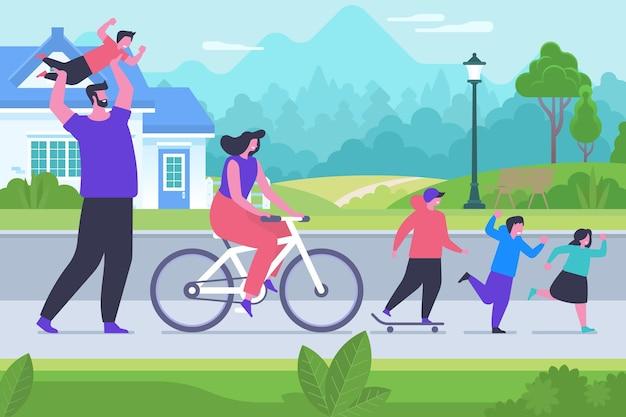 Illustration vectorielle plane de repos familial en plein air. personnages de dessins animés heureux mère, père, fils et fille. les parents et les enfants jouent dehors, passent du temps ensemble. jeux de plein air, loisirs actifs