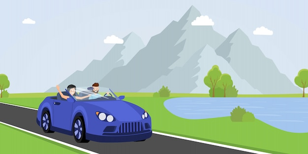 Illustration vectorielle plane road trip