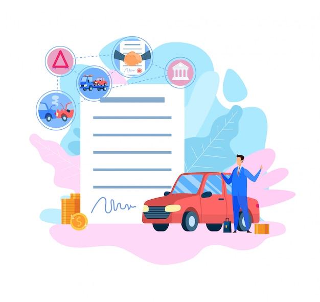 Illustration vectorielle plane de service d'assurance voiture