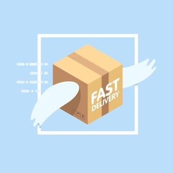 Illustration vectorielle plane de service de livraison rapide. le colis avec des ailes vole dans le ciel parmi les nuages.